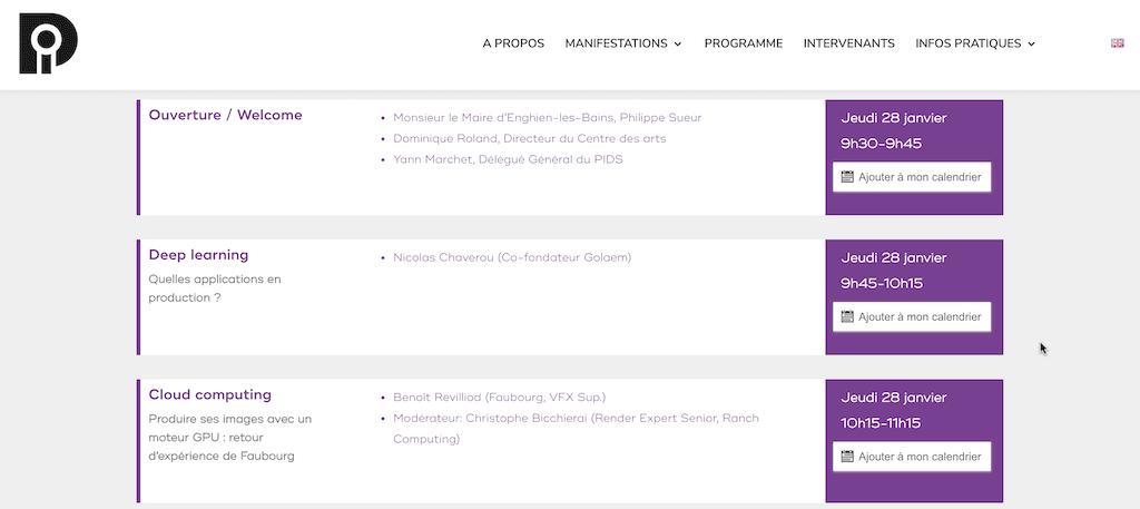 Programme evenement en ligne